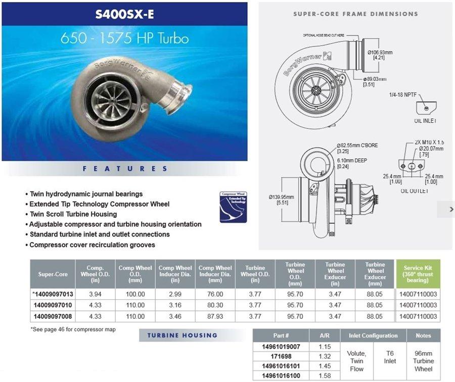Borg Warner S500sx Turbocharger 88mm: Borg Warner S400SX-E SXE488 88mm (110/96) Journal T6
